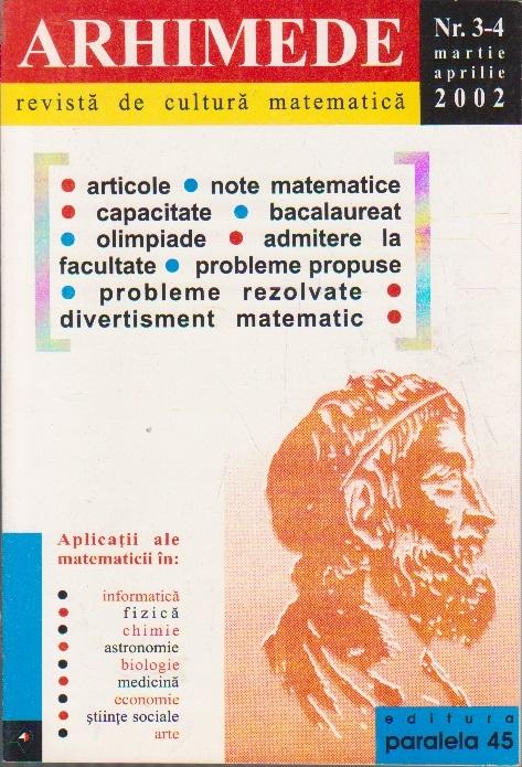 Arhimede - Revista de cultura matematica, Nr. 3-4/2002