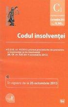 Codul insolventei - In vigoare de la 25 octombrie 2013 - (O.U.G. nr. 91/2013 privind procedurile de prevenire a insolventei si de insolventă – M. Of. nr. 620 din 4 octombrie 2013)