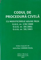 Codul de procedura civila cu modificarile aduse prin OUG 138/2000, OUG 59/2001, OUG 58/2003