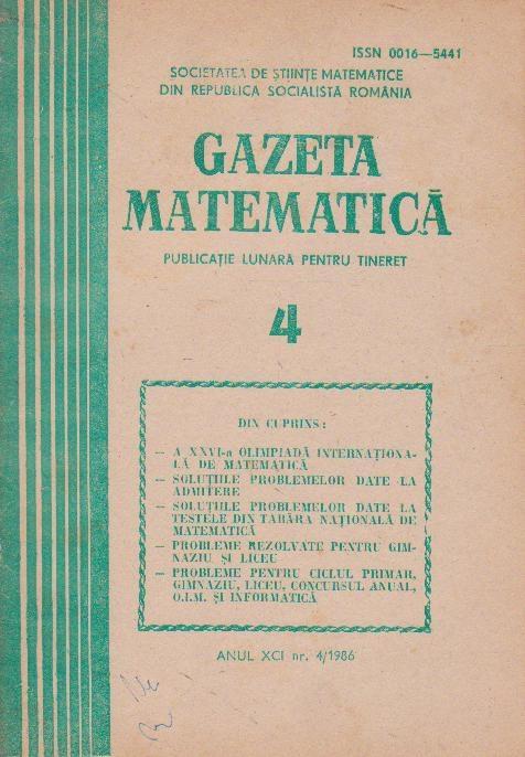 Gazeta matematica,  Aprilie 1986