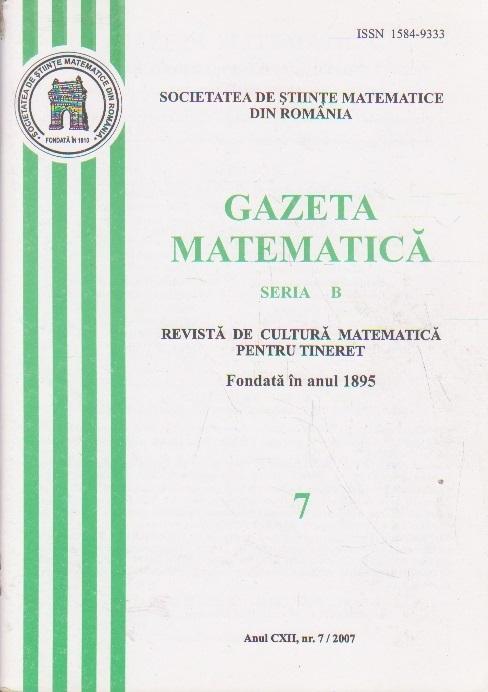 Gazeta Matematica, Seria B, Nr. 7/2007