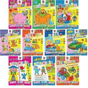 Pachet 10 carti de colorat. Coloram, scriem, ne jucam