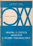 Pentru o critica marxista a teoriei psihanaliste