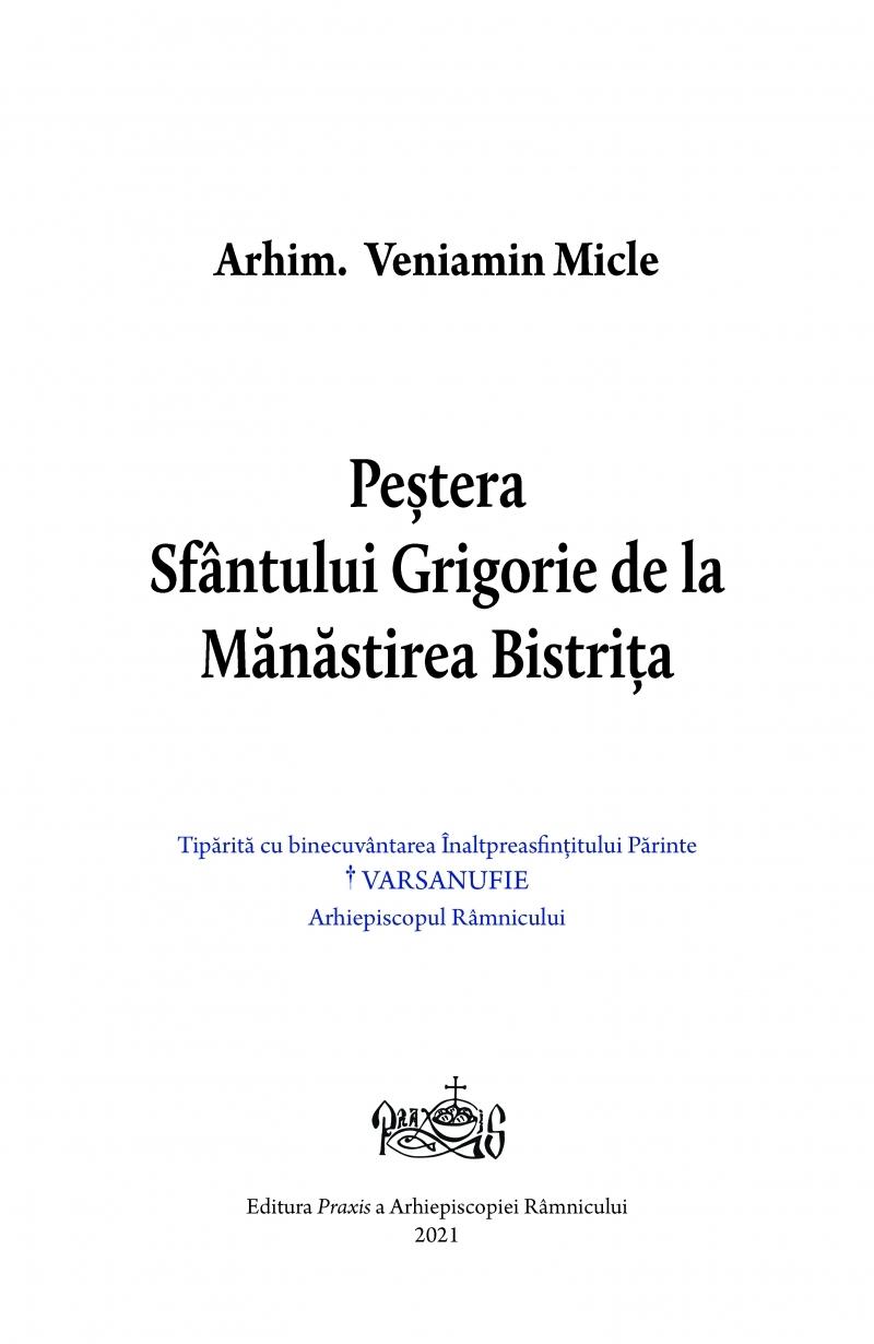 Peştera Sfântului Grigorie de la Mănăstirea Bistriţa