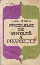 Probleme de sintaxa propozitiei