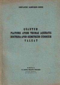 Quantum Platonis Atque Thomae Aquinatis Doctrina Apud Demetrium Cydonium Valeat (Limba Latina)