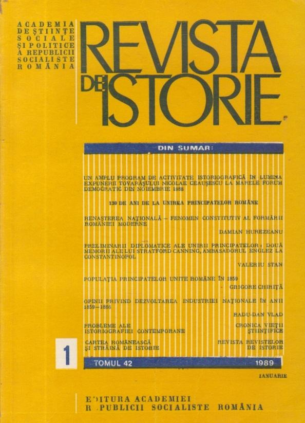 Revista de Istorie, Tomul 42, Nr. 1, Ianuarie 1989