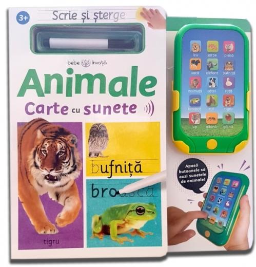 Scrie și șterge. Animale. Carte cu sunete