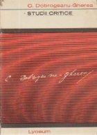 Studii critice - C. Dobrogeanu-Gherea